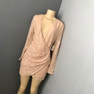 Forever21 sequined blush dress small